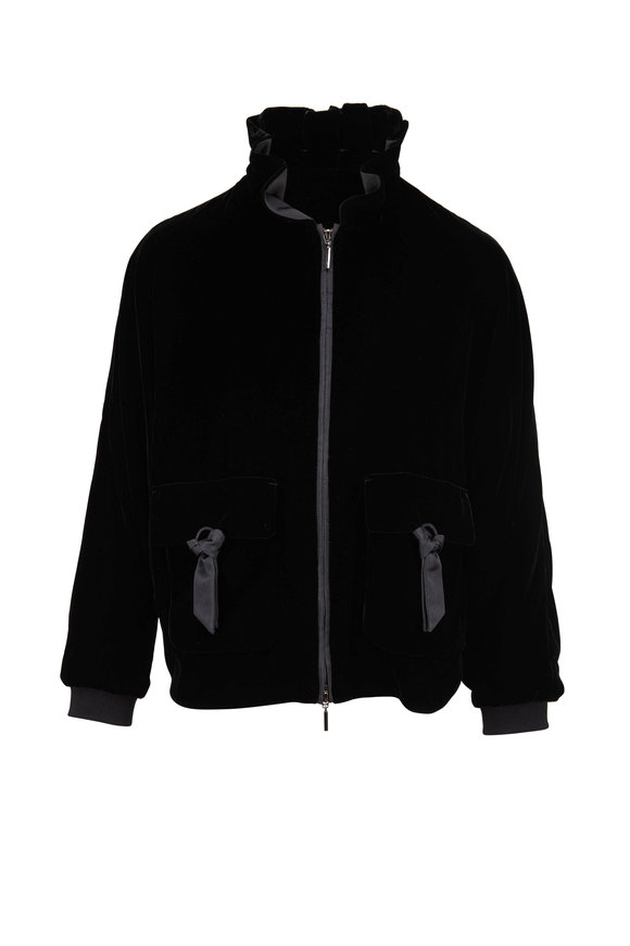 Emporio Armani Black Velvet Ruffle Neck Jacket