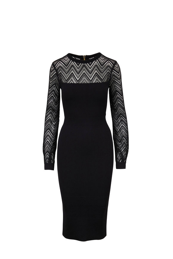 Roland Mouret Simmons Black Chevron Lace Dress
