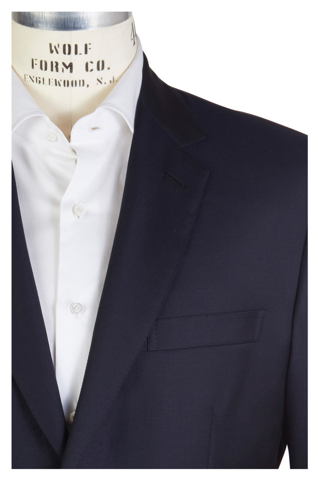 Colosseo Solid Navy Blue Worsted Wool Suit