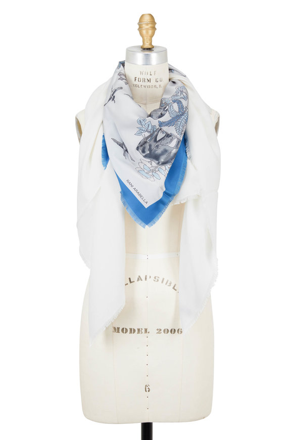 Rani Arabella Ivory & Blue Safari Printed Triangle Scarf
