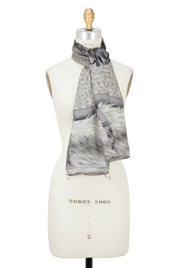 Rani Arabella Gray Feather Print Cashmere, Silk & Wool Scarf
