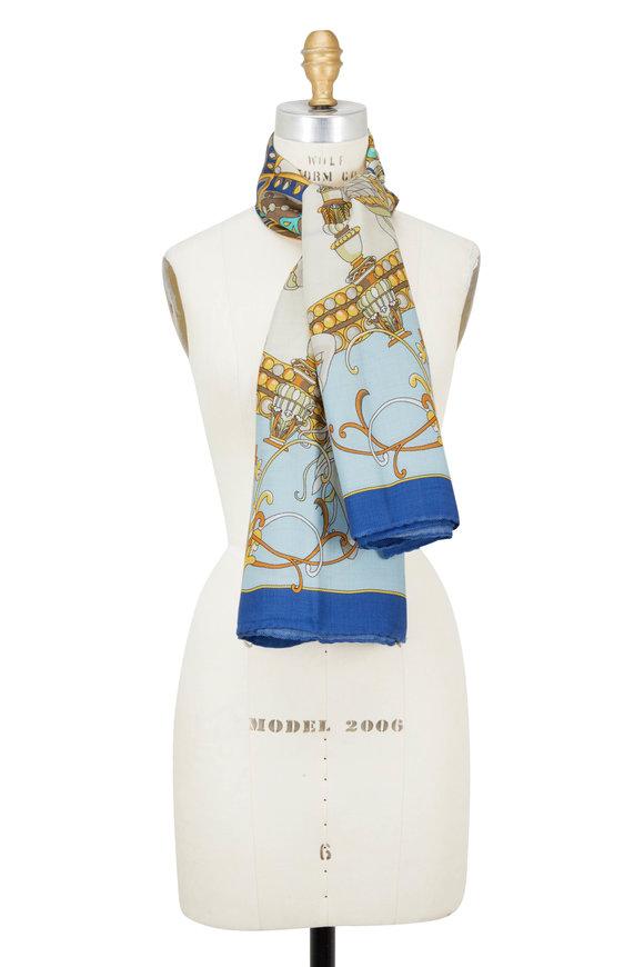Rani Arabella Blue Toy Horse Print Cashmere, Silk & Wool Scarf