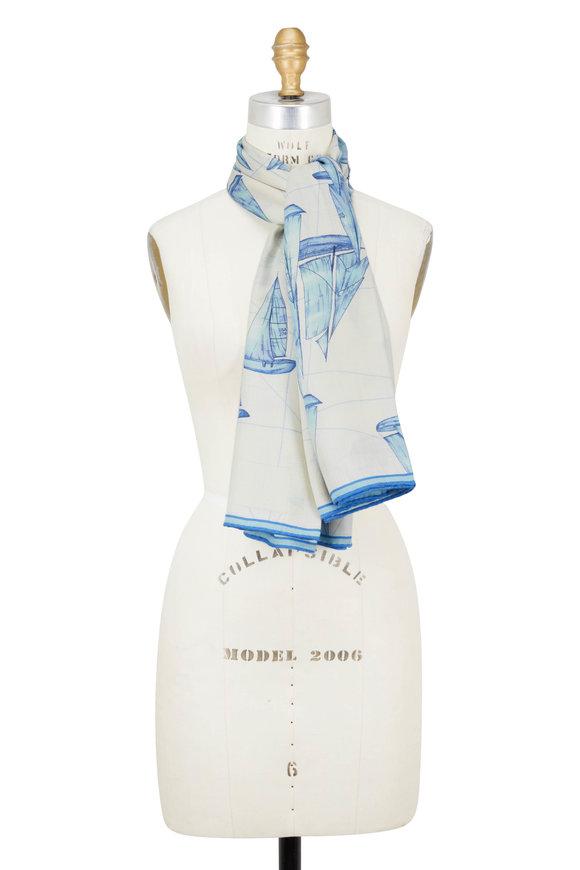 Rani Arabella Blue Cashmere, Silk & Wool Regatta Print Scarf