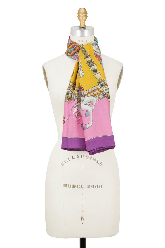 Rani Arabella Pink Toy Horses Print Cashmere, Silk & Wool Scarf