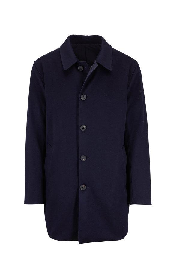 Maurizio Baldassari Navy Wool Reversible Raincoat