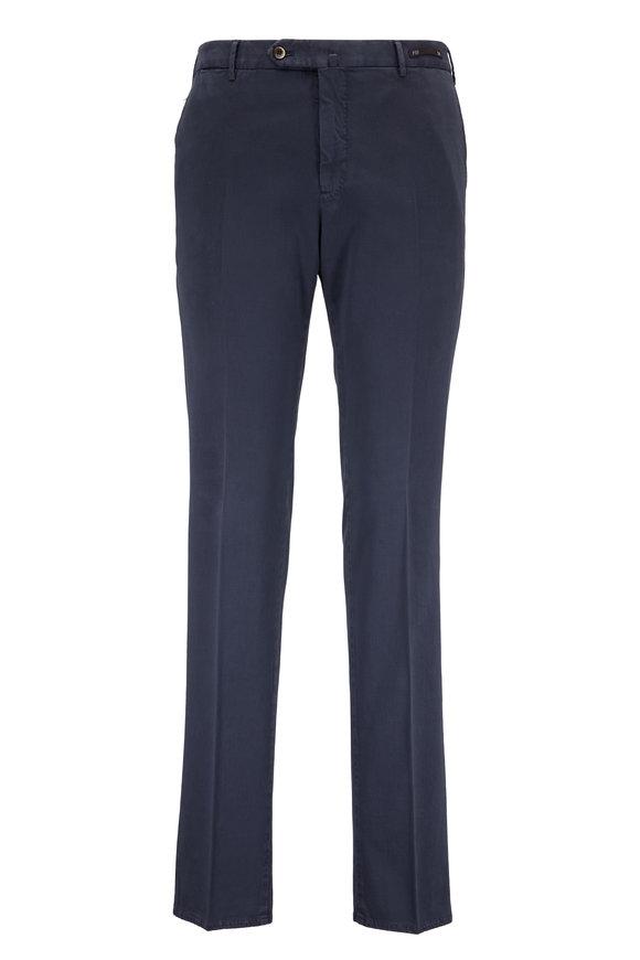 PT Pantaloni Torino Navy Stretch Cotton & Silk Slim Fit Pant
