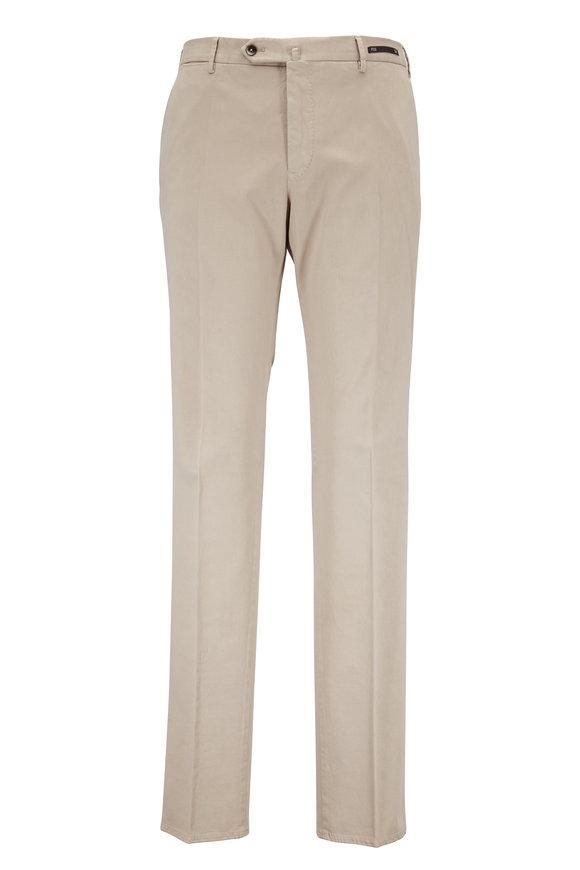 PT Pantaloni Torino Tan Stretch Cotton & Silk Slim Fit Pant