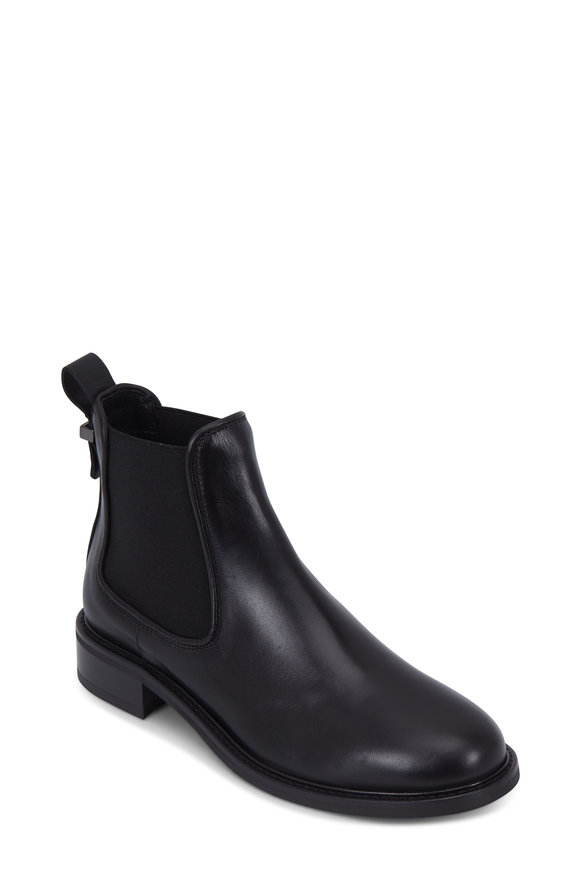 Aquatalia Belle Black Leather Side Gore Weaterproof Bootie