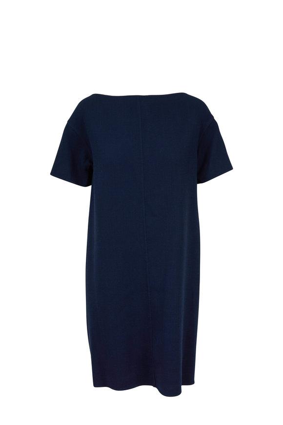 Oscar de la Renta Navy Blue Stretch Wool Tie Back Dress