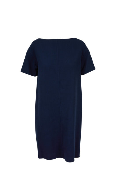 Oscar de la Renta - Navy Blue Stretch Wool Tie Back Dress