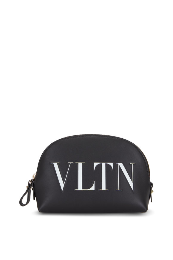 Valentino Garavani Black Leather VLTN Embossed Zip Pouch