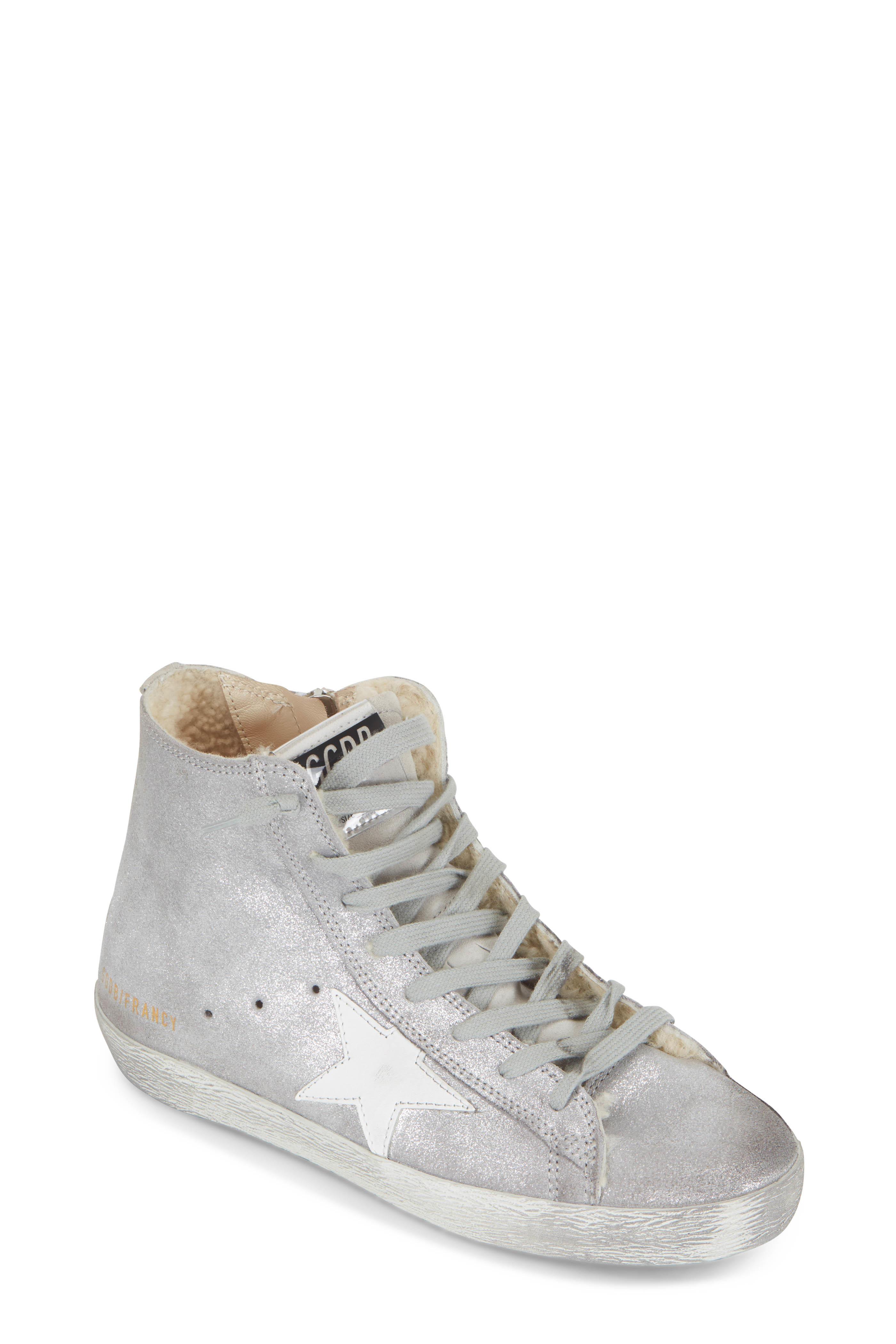 Golden Goose - Francy Silver Glitter Suede   Shearling Sneaker ... ea7f46f6d2d