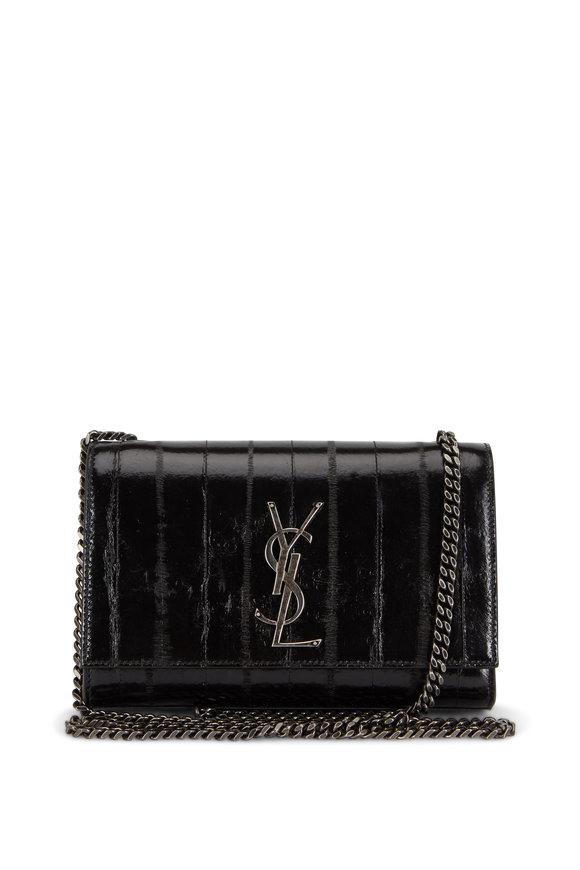 Saint Laurent Kate Black Eel Small Chain Bag