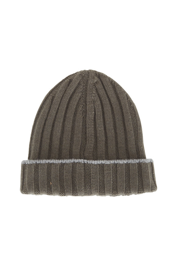 Brunello Cucinelli Olive Ribbed Cashmere Beanie