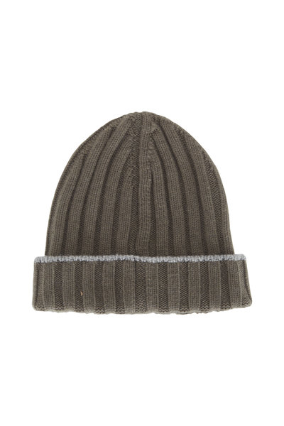 Brunello Cucinelli - Olive Ribbed Cashmere Beanie