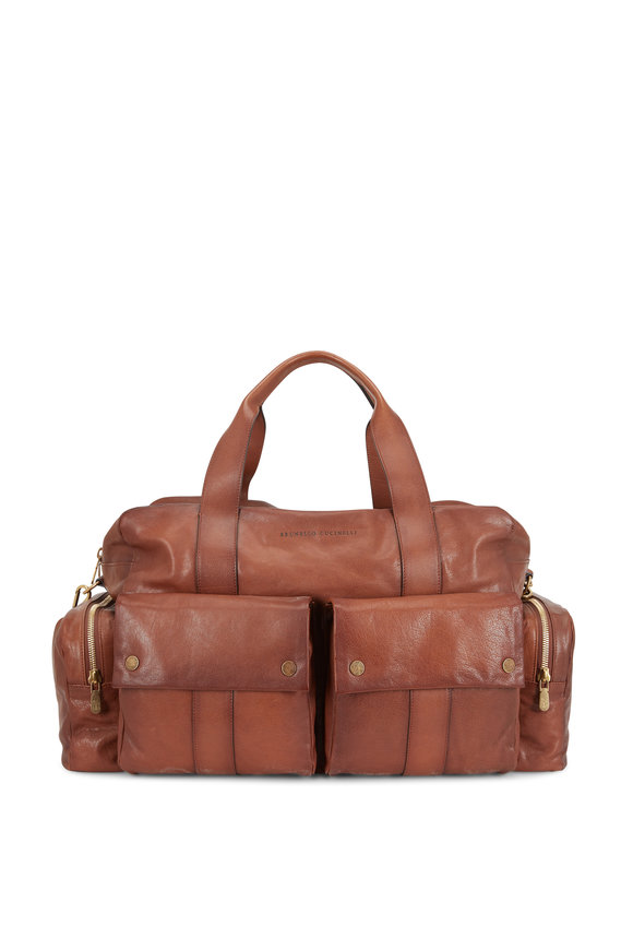 Medium Brown Leather Duffle Bag