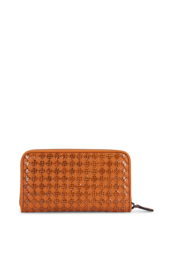 Bottega Veneta Orange Intrecciato Snakeskin & Leather Zip Wallet