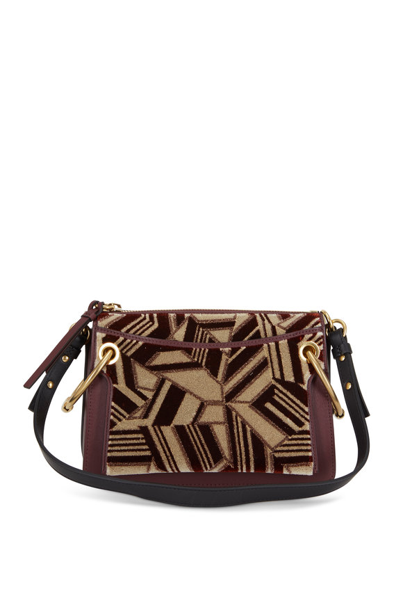 Chloé Roy Bordeaux Leather & Velvet Small Crossbody