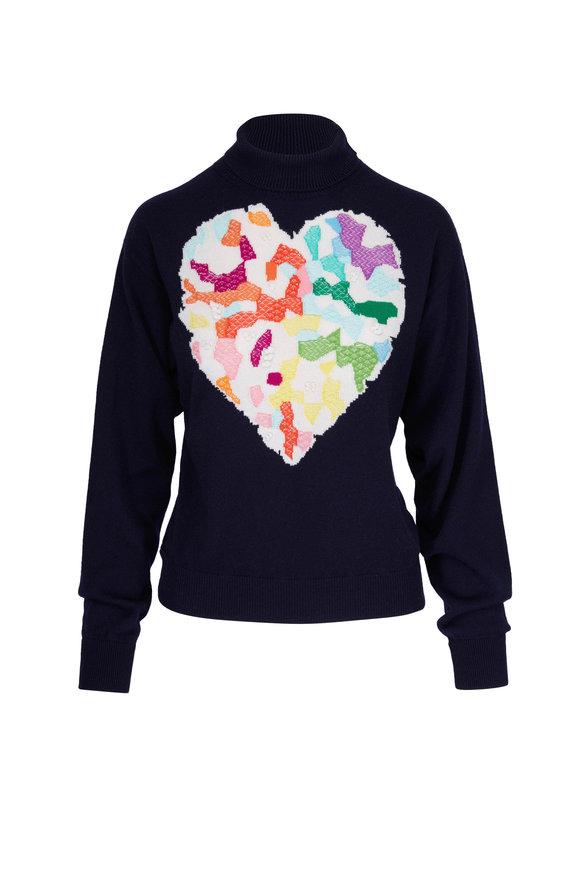 Barrie Heart Navy Cashmere Turtleneck Sweater