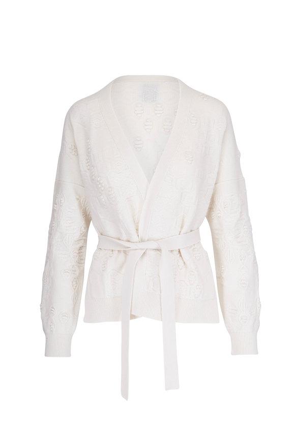 Barrie Cream Cashmere Textured Cardigan