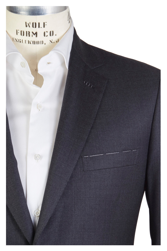Colosseo Solid Charcoal Gray Worsted Wool Suit