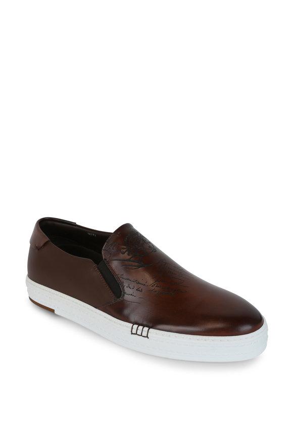 Berluti Palermo Brown Leather Engraved Slip-On Sneaker