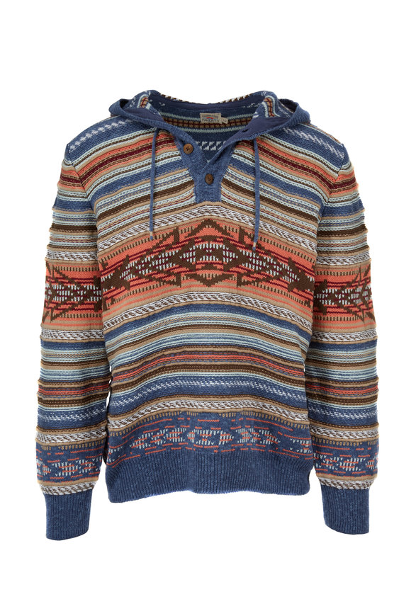 Faherty Brand Baja Neskowin Printed Hooded Sweater Poncho