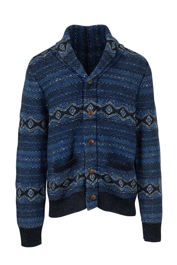Faherty Brand Indigo Shore Mixed Indigo Button Cardigan