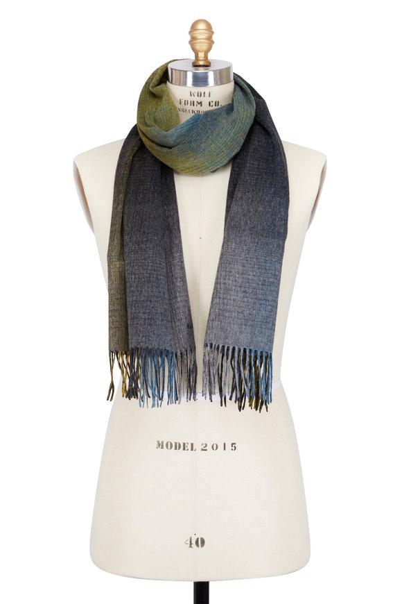 Paul Smith Cosmos Green & Grey Wool Scarf