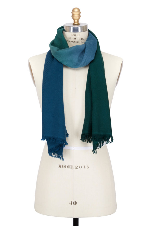 Paul Smith Green & Blue Wool & Cashmere Dip Dye Scarf