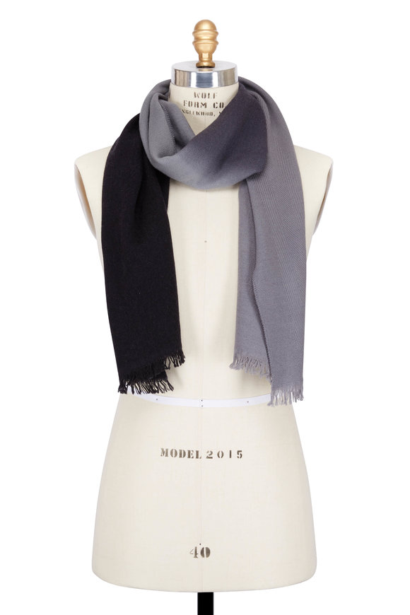 Paul Smith Grey Wool & Cashmere Dip Dye Scarf