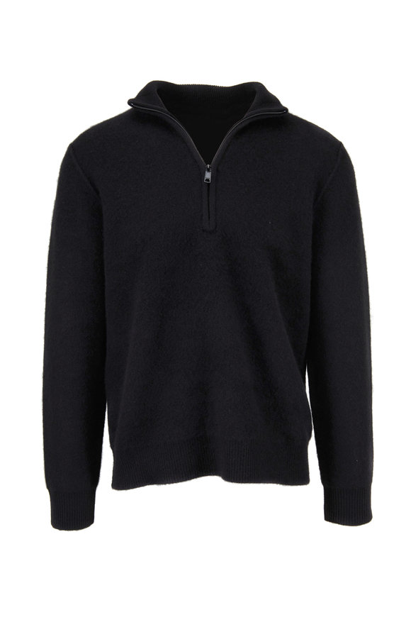 Vince Black Boiled Cashmere Quarter-Zip Sweater