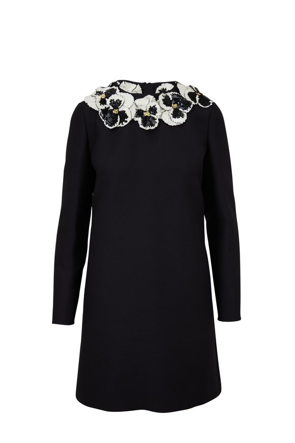 Valentino Black Crêpe Couture Embroidered Pansy Dress
