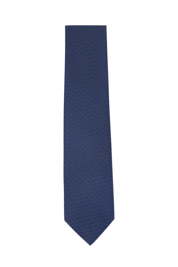 Charvet Navy Blue Diamond Silk Necktie