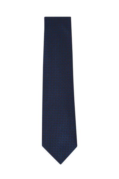 Charvet - Brown & Blue Geometric Silk Necktie