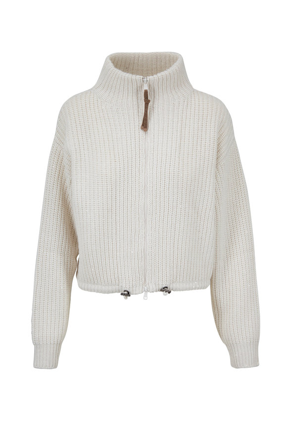 Brunello Cucinelli Oat Front Zip Pailette Ribbed Sweater