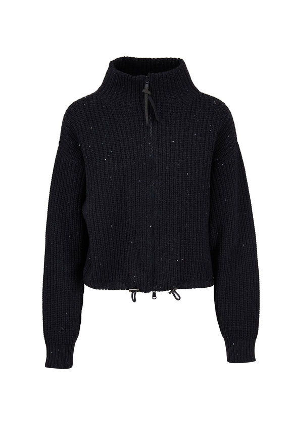 Brunello Cucinelli Onyx Pailette Front Zip Ribbed Sweater