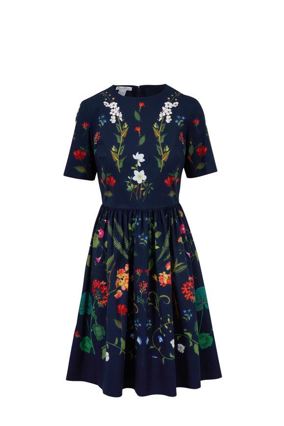Oscar de la Renta Navy Floral Printed Fit & Flare Dress