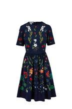 Oscar de la Renta - Navy Floral Printed Fit & Flare Dress