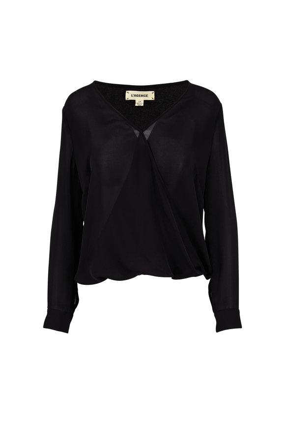 L'Agence Kyla Black Silk Draped Blouse