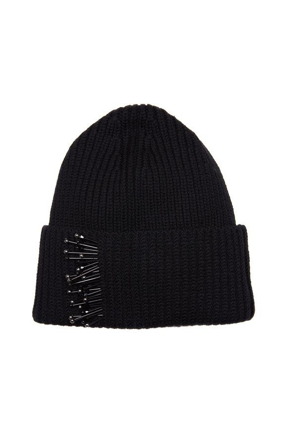 Dorothee Schumacher Black Beaded Wool Hat