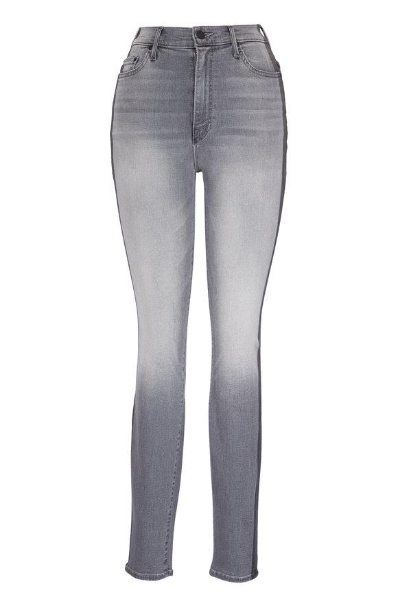 Mother Denim The Swooner Grey Stripe Skinny Jean