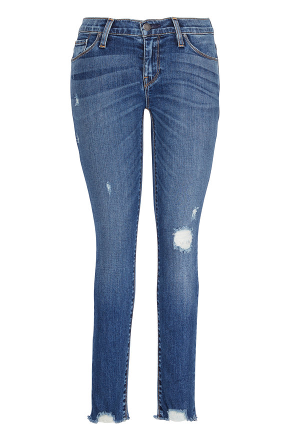 Hudson Clothing Tally Medium Wash Mid-Rise Distressed Hem Jean