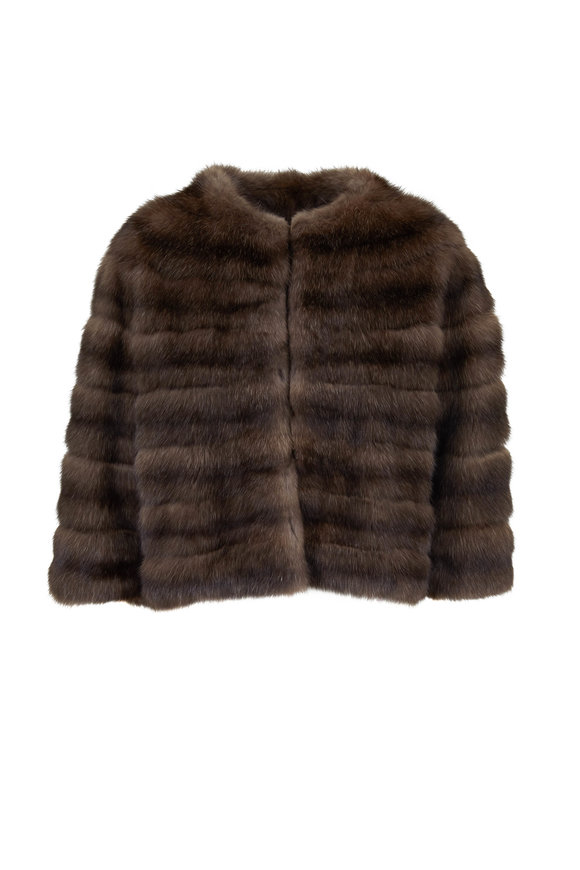Oscar de la Renta Furs Brown Tip-Dyed Sable Bolero