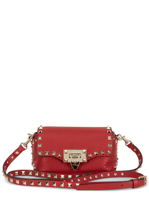 Valentino Garavani Rockstud Red Leather Mini Crossbody Bag