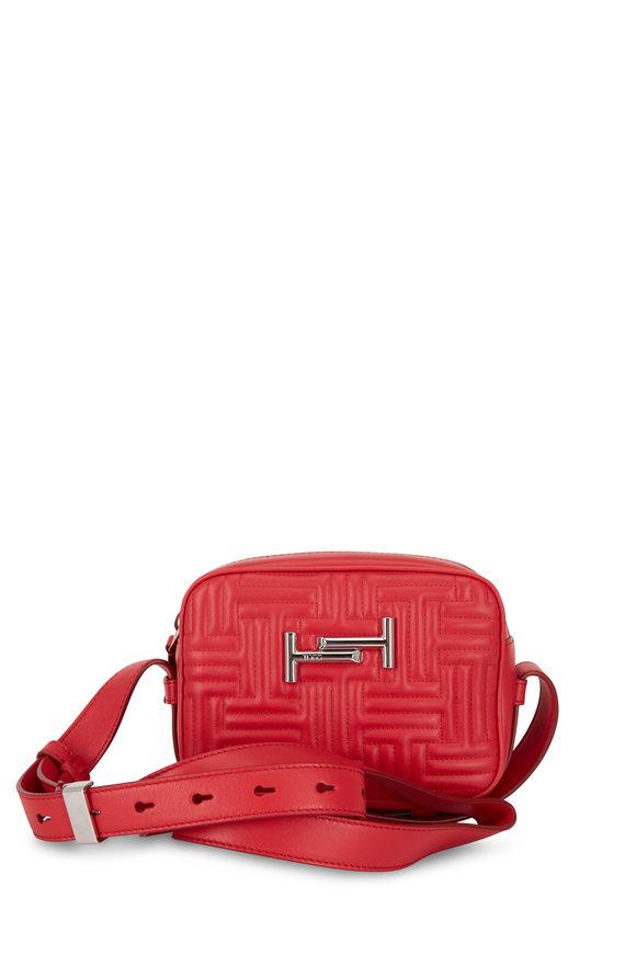 Tod's Double T Red Matelassé Camera Belt Bag