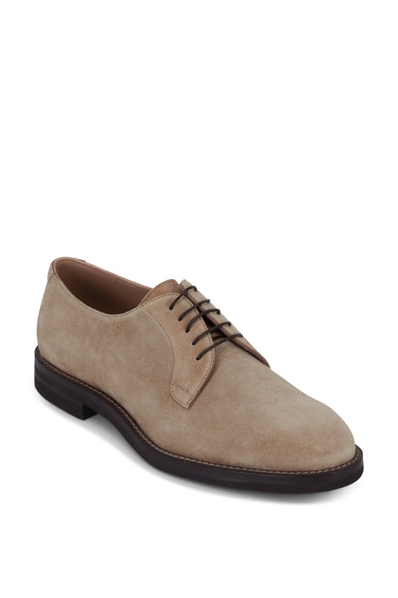 Brunello Cucinelli Tan Suede Derby Shoe