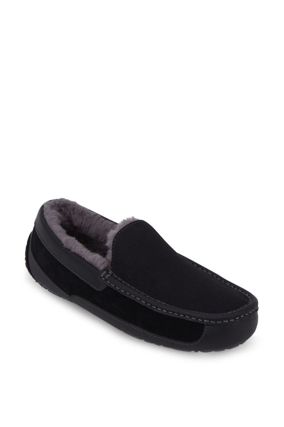 Ugg Ascot Black Suede Shearling Lined Slipper