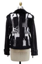 Roberto Cavalli - Black & White Fur & Leather Jacket