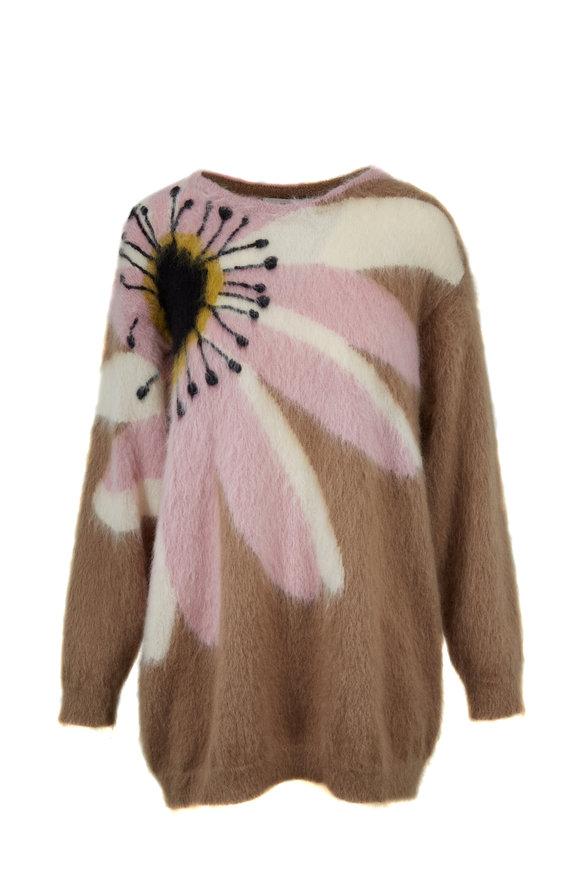Valentino Natural & Blush Mohair Daisy Inlay Sweater